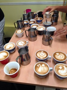 A lot of practice for the Latte art course!