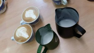 Latte art during the barista course