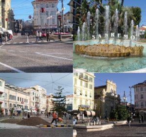 La piazza di Sanremo, dove si trova il bar in vendita