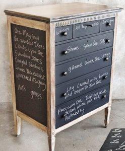 idea 2: un vecchio e brutto mobile, scartato e dipinto con vernice a lavagna, diventa un bel modo per raccontare un sacco di cose...
