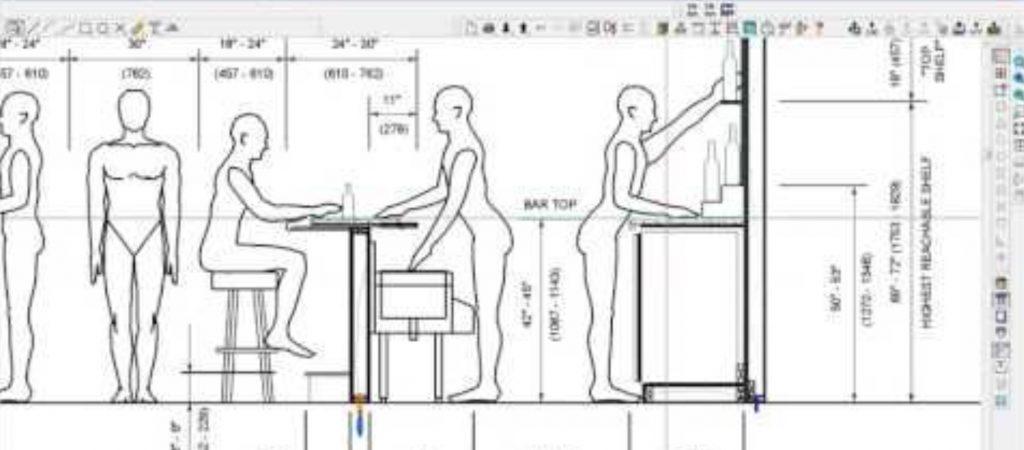Un accurata analisi dell'ergonomia è fondamentale per costruire un bancone bar