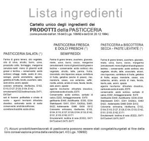 Il cartello che riporta la composizione dei prodotti di pasticceria.