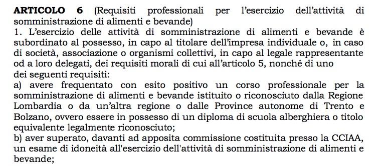 Anche in Lombardia per aprire un bar è necessario avere i requisiti professionali o un attestato SAB
