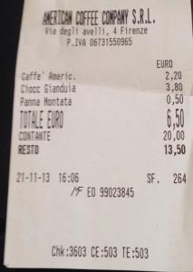 Il nostro scontrino della catena Arnold Coffee