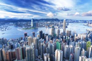 La verticalissima veduta della città di Hong Kong.