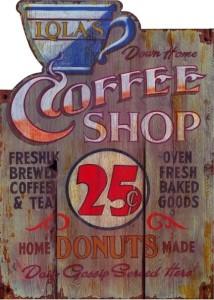 L'insegna di una caffetteria vecchio stile negli Stati Uniti, non paga tasse!
