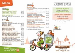 Il menù di Babygnam il locale che fa cibo take away per bambini