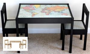Il tavolo Latt con la carta geografica (e se non amiamo la geografia possiamo incollare un sacco di altre cose…)