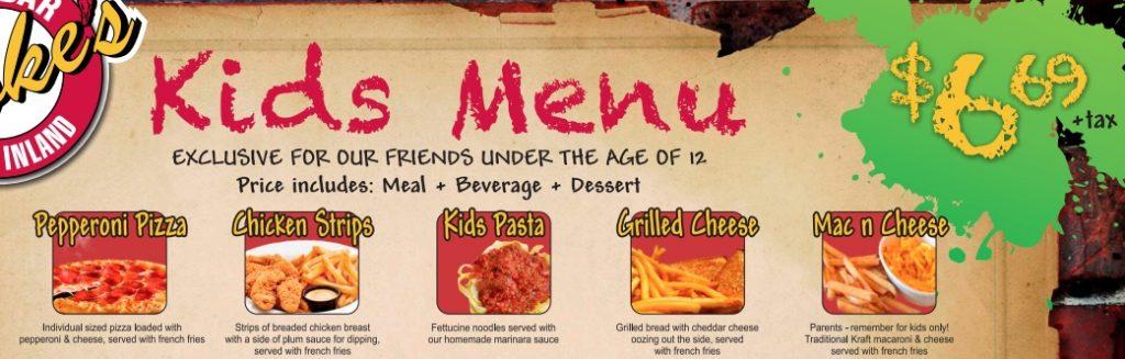 Menù tagliati su misura, prezzi in linea e grafica divertente. Tutti gli elementi di un menù da ristorante per bambini in questo esempio.