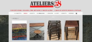 Una schermata del sito di Ateliers 58, il bar che vende arredamento