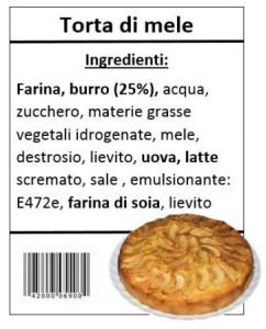 Gli ingredienti della torta di mele con gli allergeni in evidenza.